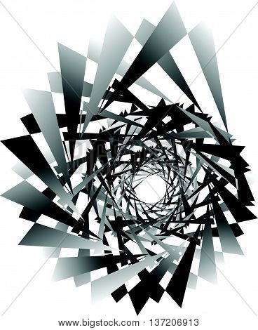 Geometric Circular Spiral. Abstract Angular, Edgy Shape In Rotating Fashion