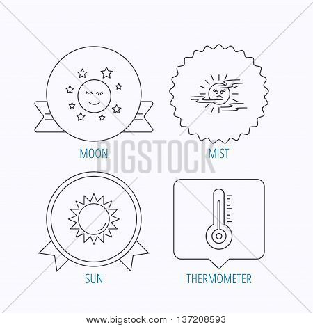 Thermometer, sun and mist icons. Moon night linear sign. Award medal, star label and speech bubble designs. Vector
