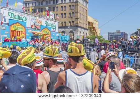 NEW YORK, JULY 4, 2016 - Nathan's hot dog eating contest  and 100th birthday of Nathan's Famous restaurant at the corner of Surf and Stillwell avenues, Coney Island