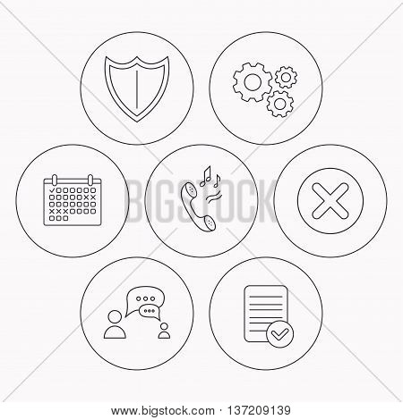 Phone ringtone, delete and chat speech bubble icons. Shield linear sign. Check file, calendar and cogwheel icons. Vector