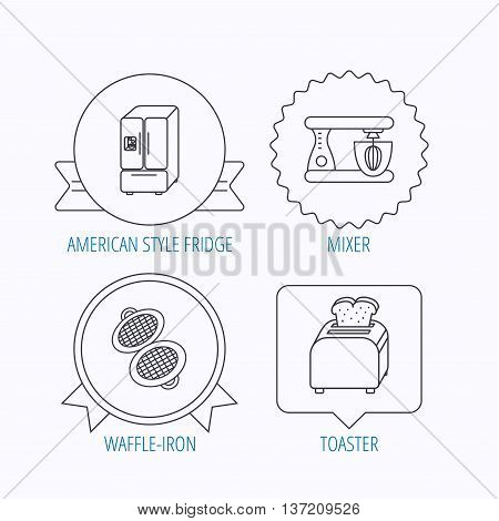 American style refrigerator, mixer and toaster icons. Waffle-iron linear sign. Award medal, star label and speech bubble designs. Vector