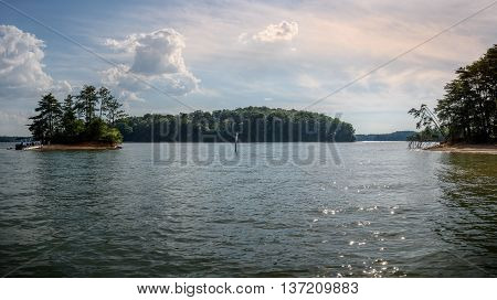 Panoramic picture of Lake Lanier during boat ride