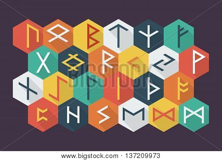 Set of Elder Futhark runes in trend flat style. Old Norse Scandinavian runes. Germanic letter. Vector illustration.