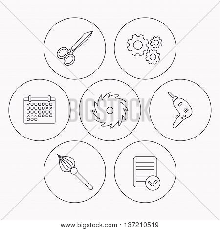 Scissors, drill and repair tools icons. Circular saw and brush linear signs. Check file, calendar and cogwheel icons. Vector