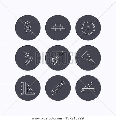 Paper knife, spatula and scissors icons. Circular saw, brickwork and drill tool linear signs. Multi-tool knife, rulers icons. Flat icons in circle buttons on white background. Vector
