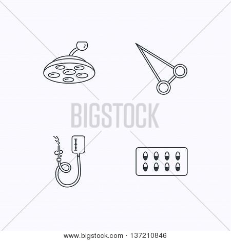Drop counter, capsules and surgical lamp icons. Peans forceps linear sign. Flat linear icons on white background. Vector poster