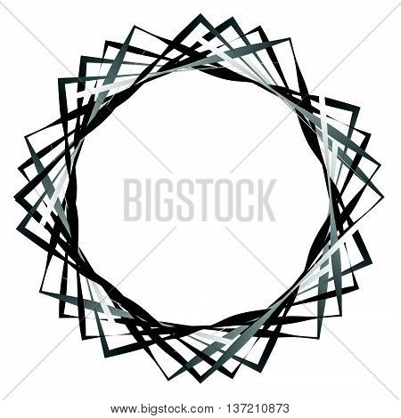Abstract Rotating Intersecting Squares. Edgy, Sharp Spiral, Vortex Geometric Element With Tension, S