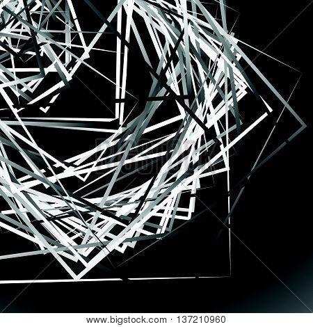 Edgy Angular Monochrome Geometric Illustration With Intersecting Random Squares
