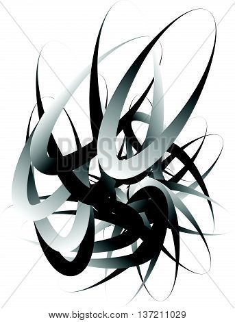 Random Squiggly, Curvy Lines, Abstract Monochrome Illustration. Overlapping Tangled Shapes. Black An