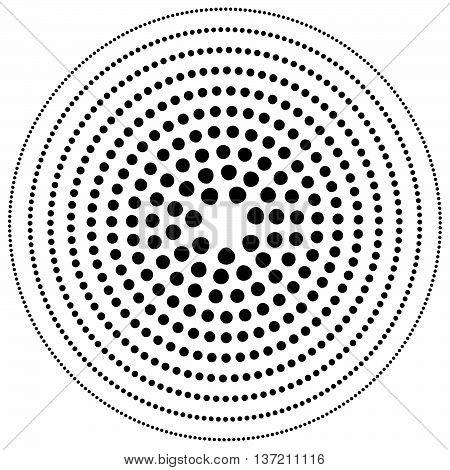 Dotted Circular Element. Mononochrome Black And White Illustration On White.