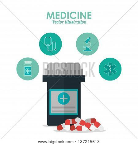 Medical and Health care concept represented by medicine icon. Colorfull and flat illustration.