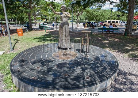 PORTO ALEGRE RIO GRANDE DO SUL / BRAZIL - JAN 2011: Elis Regina' statue located in Porto Alegre is a tribute to this memorable brazilian singer