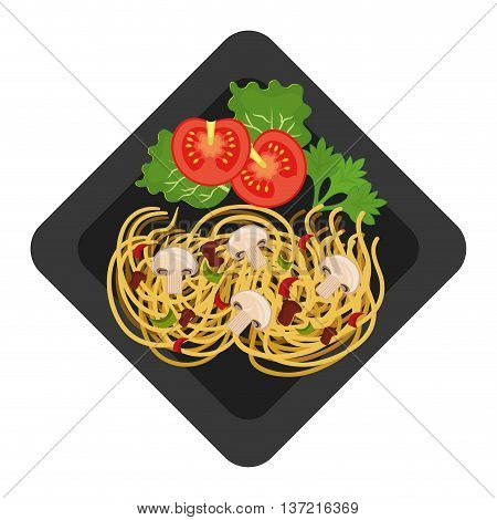 Delicious plate with diferents ingredients on it, vector illustration.