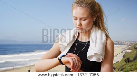Fit Attractive Caucasian Woman Working Out At The Beach