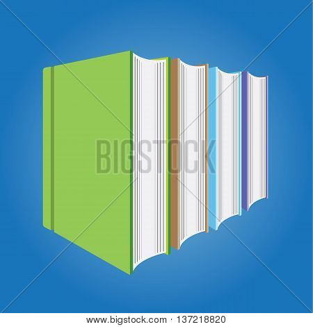 Blank Multicolored hardcover book isolated on blue background