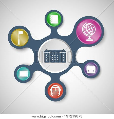 School infographic templates with connected metaballs, stock vector