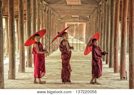 Three Novices of Buddhism in Burma temple