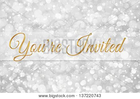 you're invited word on white silver glitter bokeh abstract background