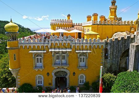 Sintra, Portugal - August 5, 2014: The terrace of the Da Pena palace in beautiful colors in a sunny day in Sintra, Portugal