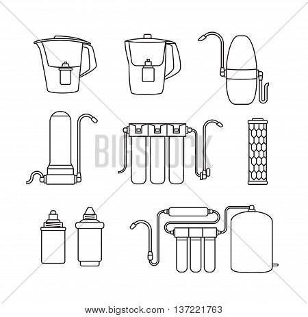 Water filter isolated vector icons. Linear style. Water purification equipment, cartridge, filters