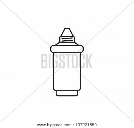 Water filter cartridge. Isolated vector icon. Black and white.