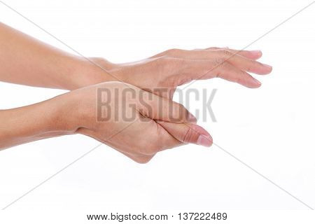 Trigger finger.Woman painful thumb isolated on white background