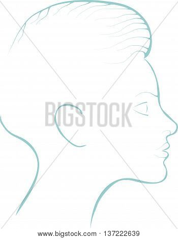 delicate silhouette of young woman in thin lines
