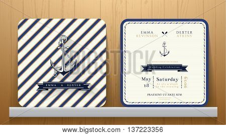 Vintage Nautical Anchors Wedding Invitation Card with Blue Striped on Wood Background