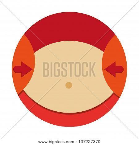 simple flat design arrows pointing towards female waist icon vector illustration