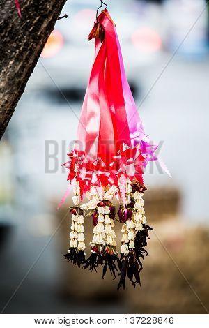 garland hangon tree  in market  chiangmai  province Thailand.