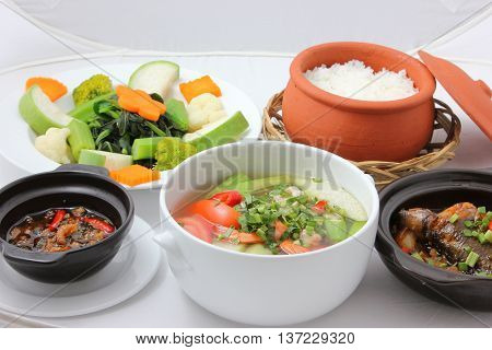 A Vietnamese traditional meal on the table