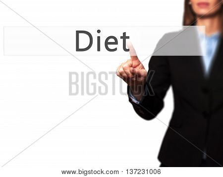 Diet - Business Woman Point Finger On Push Touch Screen And Pressing Digital Virtual Button.