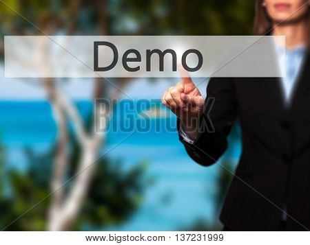 Demo - Business Woman Point Finger On Push Touch Screen And Pressing Digital Virtual Button.