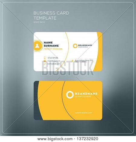 Corporate Business Card Print Template. Personal Visiting Card With Company Logo. Black And Yellow C