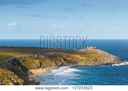 Distance view of Remarkable Rocks, natural rock formation at Flinders Chase National Park. One of Kangaroo Island's iconic landmarks, South Australia