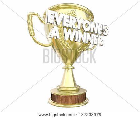 Everyones a Winner Teamwork Prize Award Recognition 3d Illustration