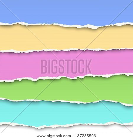 Oblong layers of torn pastel color paper