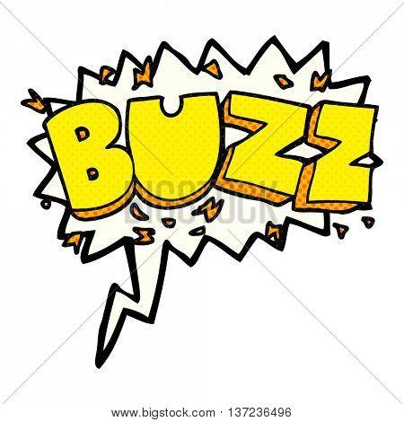 freehand drawn comic book speech bubble cartoon buzz symbol poster
