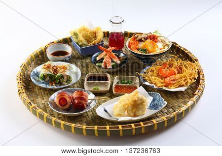 A Vietnamese tray of japanese food with sushi