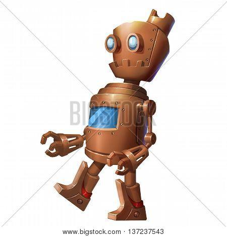 Iron Robot, Tin Man. Character Design isolated on White Background