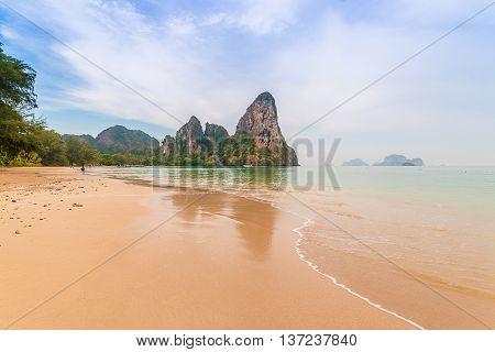 Railay beach in Krabi Thailand In the rainy season.