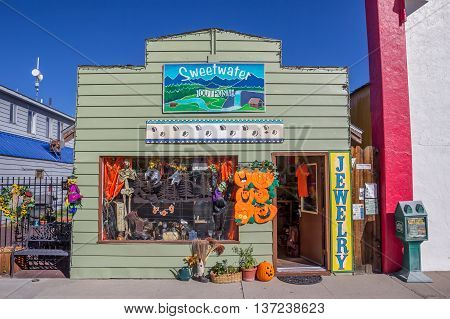 BRIDGEPORT, CA, USA - OCTOBER 11, 2015: Little old shop in halloween style on main street Bridgeport, California