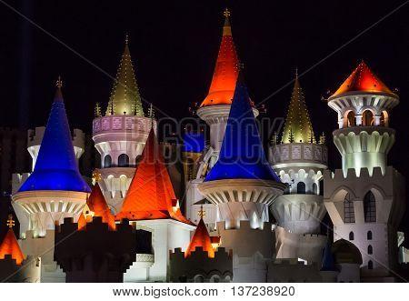 LAS VEGAS, USA - OCTOBER 17, 2015: Hotel Excalibur on the Las Vegas strip by night