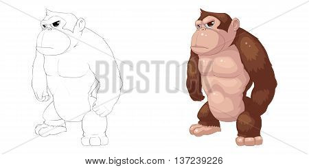 Gorilla, Orangutan, Monkey and APE. Coloring Book, Outline Sketch, Animal Mascot, Game Character Design isolated on White Background