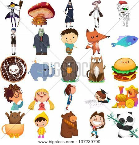 Boy, Girl and Animal Set. Video Game Assets, Objects; Story Card Illustration Pieces isolated on White Background
