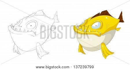 Piranha. Coloring Book, Outline Sketch, Animal Mascot, Game Character Design isolated on White Background