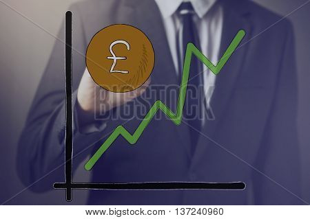 Businessman Drawing Increasing Diagram Of Pound Sterling Currency