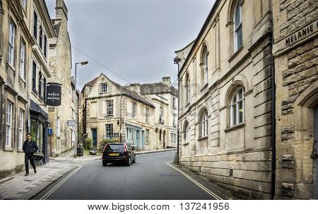 BRADFORD ON AVON, WILTSHIRE, UK, 21 JUNE 2016 - View going uphill on Silver Street Bradford On Avon Wiltshire UK