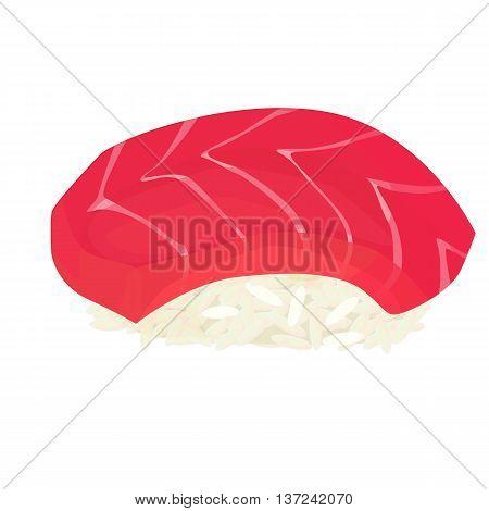 Maguro, sushi, isolated on white background, vector illustration
