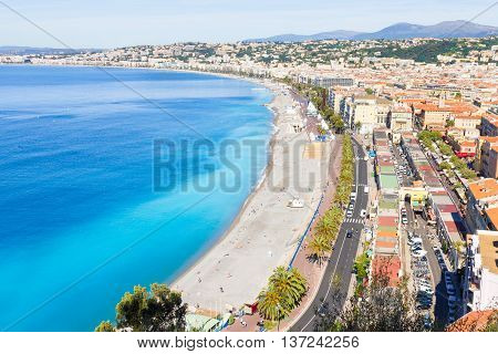 Aerial view of Nice in the French Riviera